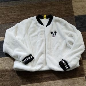 Fuzzy off white mickey bomber jacket